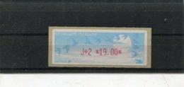 France 1 Vignette Distributeur Type C LISA N°YT 220 - J+2 19,00 - 1990 «Oiseaux De Jubert»