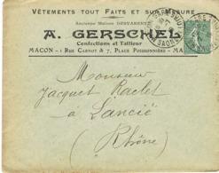 ENVELOPPE  A EN-TETE A GERSCHEL VETEMENTS MACON - 1877-1920: Periodo Semi Moderno