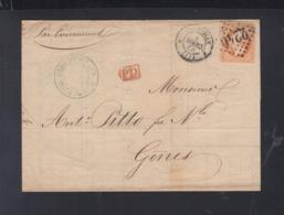 France Lettre 1866 Marseille A Genes - Poststempel (Briefe)