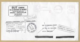 """Proville (59) """"BUT"""" Route De Marcoing 2cans 28-11-2003 NPAI Retour à L'envoyeur Cachets De Valenciennes Neuville-St-Rémy - Marcophilie (Lettres)"""