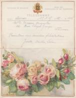 Belgique1945UsageTélégramme Illustré Fleurs - Telegraph