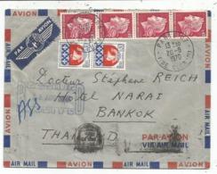 CHEFFER 40CX4+ 30C BLASONX2 LETTRE TRACES DE SCOCHT AU DOS AVION PARIS 20.8.1970 POUR THAILAND BANGKOK - 1967-70 Marianne Of Cheffer