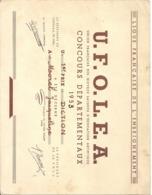 UNION FRANCAISE DES OEUVRES LAIQUES D'EDUCATION ARTISTIQUE . CONCOURS DEPTX 1953 .  1er PRIX DE DICTION . JURA DOLE - Diplomas Y Calificaciones Escolares