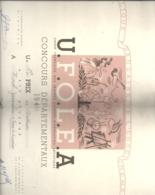 UNION FRANCAISE DES OEUVRES LAIQUES D'EDUCATION ARTISTIQUE . CONCOURS DEPTX 1951 .  1er PRIX DE DICTION . JURA LONS LE S - Diplome Und Schulzeugnisse