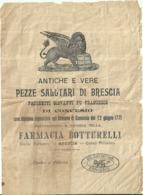 """5718 """"ANTICHE E VERE PEZZE SALUTARI DI BRESCIA-PREP. E VENDITA NELLA FARMACIA BOTTURELLI-BRESCIA"""" - Pubblicitari"""