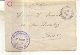 Lettre Avec Cachet : Cdt Regiment Des Prisonniers De Guerre, XVe Région, L'off. Interprète Régional - Guerre De 1914-18