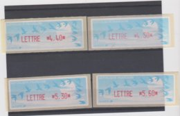 France 4 Vignettes Distributeur Type C LISA LETTRE N°YT 214 4,40f - 218 4,50f - 208 5,30f 5,60f - 1990 «Oiseaux De Jubert»