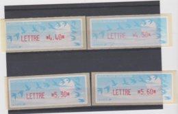France 4 Vignettes Distributeur Type C LISA LETTRE N°YT 214 4,40f - 218 4,50f - 208 5,30f 5,60f - 1990 Type «Oiseaux De Jubert»