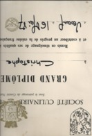"SOCIETE CULINAIRE DE FRANCHE-COMTE . "" GRAND DIPLOME D' HONNEUR "" A Mr GREINER Christophe A VESOUL 16 MAI 1987 - Diplomas Y Calificaciones Escolares"