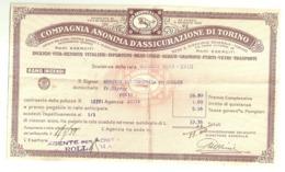 """5721 """"COMPAGNIA ANONIMA D'ASSICURAZIONE DI TORINO-SCADENZA DELLA RATA GENNAIO 1939""""ORIGINALE - Italy"""