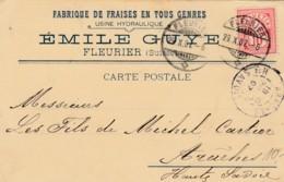 Carte Correspondance De La Fabrique De Fraises En Tout Genres Emile Guye à Fleurier - 29.X.07 - Suisse