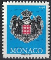 Monaco 2017 Oblitéré Used Coat Of Armes Blason Armoiries Bleu écopli SU - Monaco