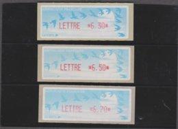 France 3 Vignettes Distributeur Type C LISA LETTRE N°YT  208 6,30f 6,50f 6,70f (vendu Sous Valeur Faciale 2.97 E) - 1990 «Oiseaux De Jubert»