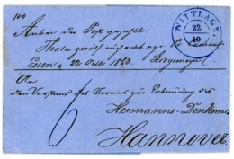 """WITTLAGE"" 1863 Glasklarer K 2 Geldbrief Nach Hannover Wg. Spende Für Hermann Denkmal - Hannover"