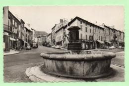 CPSM - LANGOGNE - Le Centre De La Ville, Fontaine - Commerces, Voitures .... - Langogne