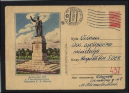 RUSSIA USSR Stamped Stationery Used 57-090 KAZAKHSTAN OSKEMEN Kirov Monument Personalities KLAIPEDA Cancellat LITHUANIA - 1923-1991 UdSSR