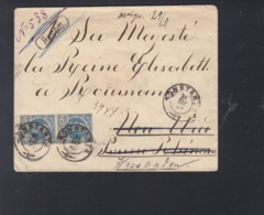 Romania Registered Cover 1889 Constanta To Queen Elisabeth Germany - 1881-1918: Charles I