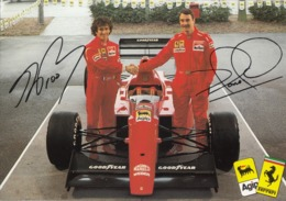 FERRARI F 1-PROST -MANSELL-AUTO-CAR-VOITURE-COCHE-CARTOLINA VERA FOTOGRAFIA NON VIAGGIATA - Grand Prix / F1