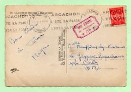 """CACHET - """"BASE AERIENNE 706 - Le Vaguemestre""""  Sur CP ARCACHON 1952 - - Marcophilie (Lettres)"""