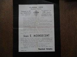 JEAN E. MOINDECENT CLASSE 1952 DEUXIEME FOURNEE DETACHEMENT DES SEM HOTEL RONZIER-PALACE - Documents