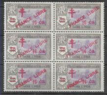 1943 INDE FRANCAISE 209** France Libre , Surchargé, Bloc De 6 - India (1892-1954)