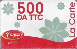 Algeria - Djezzy- La Carte Red White (Type 1), GSM Refill 500DA, Used - Algérie