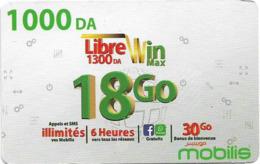Algeria - Mobilis - Libre Win Max 18 Go, Exp.06.02.2019, GSM Refill 1.000DA, Used - Algerien