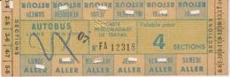 TRANSPORT AUTOBUS CARTE HEBDOMADAIRE DE TRAVAIL - 4 SECTIONS - Abonnements Hebdomadaires & Mensuels