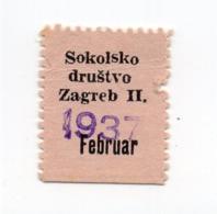 1937 CROATIA, ZAGREB, SOKOL, POSTER STAMP - Croatia