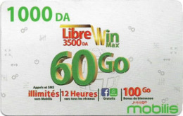 Algeria - Mobilis - Libre Win Max 60 Go, Exp.06.02.2019, GSM Refill 1.000DA, Used - Algerien