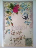 GAGE D' AMITIé  Cpa Gauffrée , Rose, Trèfle à 4 Feuilles, Hirondelle - Autres