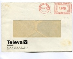 """ARGENTINA COMMERCIAL COVER - CIRCULATED FROM """"TELEVA"""" CAPITAL FEDERAL. YEAR 1976 FRANQUEO MECANICO -LILHU - Storia Postale"""