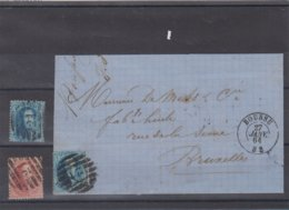 Boussu N°15 & 16 P21 + Devant De Lettre Datée 27 Janv. 64 Vers Bruxelles (ex MS = Scheerlinck) TB Et Rare - 1863-1864 Medaillen (13/16)