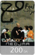 Algeria - Nedjma - Football - Zinedine Zidane And Kids, Exp.30.09.2008, GSM Refill 200DA, Used - Algeria