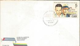J) 1985 CARIBE, 50th ANNIVERSARY OF THE DEATH OF ANTONIO GUITERAS Y CARLOS APONTE, FDC - Cuba