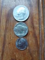 Lot De 3 Pièces Des Etats-Unis - Quarter Dollar 1978 Lettre D - 5 Cents  Date Effacé Et One Dime 1996 Lettre P - - Stati Uniti