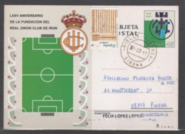 TARJETA ENTERO POSTAL 1991, REAL UNION DE IRUN. CIRCULADA - 1931-....