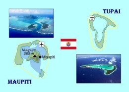 French Polynesia Maupiti And Tupai Map New Postcard Französisch Polynesien Landkarte AK - Frans-Polynesië