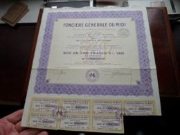 Foncière Générale Du MIDI / Bon De 1.000 Francs 5% 1932 - N° 000,751 ( Zie/Voir Foto ) ! - Acciones & Títulos