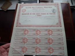 Soc. Des Couleurs Minérales / Obligation De Cinq Cents Francs Au Porteur - N° 339 ( Zie/Voir Foto ) ! - Mines