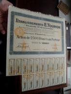 """Ets. E. TOURON """" Filature St. Quentinoise """" / Action De 2.500 Francs Au Porteur - N° 000,824 ( Zie/Voir Foto ) ! - Acciones & Títulos"""