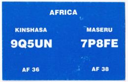 Radio Amateur QSL Card Kinshasa Maseru Africa - Radio Amateur