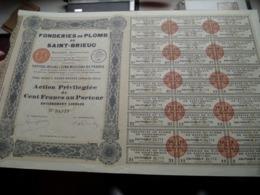 Fonderies De PLOMB De SAINT-BRIEUC / Action Privilégiée De Cent Francs Au Porteur - N° 31,773 ( Zie/Voir Foto ) ! - Actions & Titres