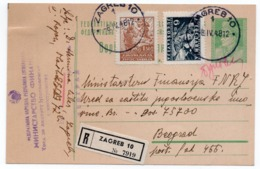 1948 YUGOSLAVIA, CROATIA, ZAGREB TO BELGRADE, REGISTERED MAIL, TITO, 1.5 DIN STAMP, STATIONERY CARD, USED - Postal Stationery