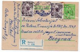 1958 YUGOSLAVIA, SLOVENIA, MARIBOR TO BELGRADE, 10 DIN GREEN, RECORDED, USED STATIONERY CARD - Postal Stationery