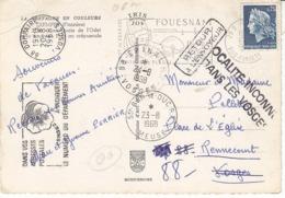 Carte Postale De 1958 Retournée ,localité Inconnue Dans Les Vosges ,nombreux Cachets - Marcophilie (Lettres)