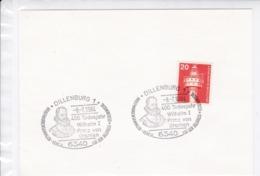 BRD.Mi:848 Sonderstempel: 6340 Dillenburg, 400 Todesjahr Wilhelm I Prinz Von Oranien.  8.7.1984 - Marcophilie - EMA (Empreintes Machines)