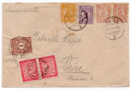 1925 ROMANIA TO YUGOSLAVIA, VRSAC, POSTAGE DUE, POSTER STAMP AT THE BACK - 1918-1948 Ferdinand, Charles II & Michael