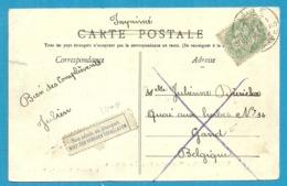 Kaart Vanuit LILLE Naar GAND, Strookje NON ADMIS AU TRANSPORT /NIET TEN VERVOER TOEGELATEN - Postmark Collection