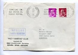 ESPAÑA COMMERCIAL COVER - CIRCULATED FROM VILADECANS, BARCELONA TO BUENOS AIRES, ARGENTINA. YEAR 1991 BANDELETA -LILHU - 1931-Hoy: 2ª República - ... Juan Carlos I